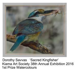 1st Prize Watercolours Dorothy Savvas Kiama Art Soc 38th Annual Exhibition 2016
