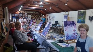 Kathy's acrylics class at the Coach house Kiama
