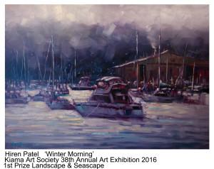 1st Prize Land&SeaScape Hiren Patel Kiama 2016 Art Exh